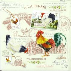 4 x Single Luxury Paper Napkins for Decoupage and Craft Vintage La Ferme