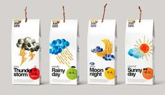 """奇芋大地創意包裝:味蕾感官旅程  在台灣,芋頭條作為當地人回憶中不可或缺的零食,似乎一年四季都是熱賣品。台灣甲仙小奇芋冰店邀請本土設計公司Victor Design 為旗下品牌""""Kiyu taro(奇芋大地)""""設計包裝,設計師將這個系列取名為""""奇芋氣象台""""。跨越感官,將不同味道芋頭條的口感同不同天氣帶給人的感受聯繫起來,配以簡單的水彩畫,便成就了獨一無二的包裝。  相比傳統食物包裝直接標明口味的方式,把食物口味同不同天氣給人的感受聯繫起來,彷彿修辭學上""""通感""""手法的運用,結合味蕾與感官,想必會引起人們更大興趣去探索究竟。  麻辣味的刺激就像""""晴空霹靂""""般叫人難以招架;芥末味辣到淚如雨下;香濃的咖哩就像夜晚溫潤的月色;甜蜜焦糖則像是風和日麗的好天氣。  簡單的芋頭條被製作出這麼多口味,加上包裝又漂亮,準備去台灣旅行的同學可以考慮購買這樣的當地美食作為伴手禮喔。"""