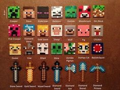 Minecraft Keychains, Magnets and Pins from Perler Beads by DJbits Hama Minecraft, Minecraft Crafts, Minecraft Party, Creeper Minecraft, Minecraft Pattern, Minecraft Skins, Disney Minecraft, Minecraft Stuff, Perler Bead Designs