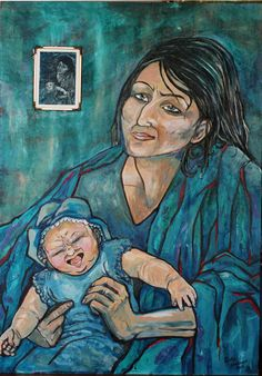 """Art collage by Satu Laaninen. Acrylics, ink and intaglio print into hard board 2015 """"Drained madonna"""""""