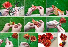 DIY Roses Using Autumn Leaves - Find Fun Art Projects to Do at Home and Arts and Crafts Ideas