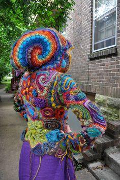 Rainbow nautilus needlework hoodie