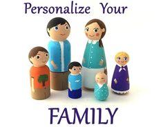 Custom Wood Family, Custom Peg Family, Personalized Family, Dollhouse Family, Dollhouse People, Peg Dolls, OOAK Customized Dolls, Peg People by Quinnipeg on Etsy https://www.etsy.com/listing/179193129/custom-wood-family-custom-peg-family