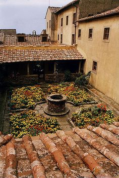 cloister-garden Monastery of San Francesco in Cima, Fiesole, province of Florence , Tuscany Italy