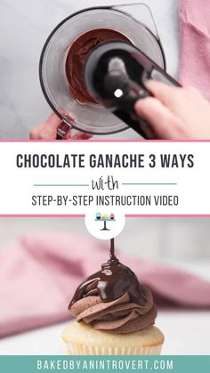 Learn how to make chocolate ganache with only 2 ingredients - real chocolate and warm heavy cream. Use this ganache recipe for frosting glazes truffles and more! Choco Truffle Cake, Chocolate Ganache Cupcakes, Whipped Chocolate Ganache, Homemade Chocolate Frosting, Chocolate Garnishes, Chocolate Recipes, How To Make Chocolate, Cake Chocolate, Recipes With Whipping Cream