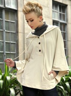 Cape Cloak Hooded Coat Beige$79.00