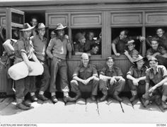Men of the Infantry Battalion, including Sgt Reg Saunders, waiting at their troop train in Queensland, Sgt Saunders is the most decorated Aboriginal soldier who fought in both World War II and the Korean War. You can read his story at this link. Anzac Soldiers, Anzac Day, Korean War, Military History, World War Ii, First World, Wwii, Battle, Army
