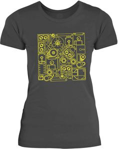 3d3f2ea15 Big Texas The Old Technology (Yellow) Womens Fine Jersey T-Shirt Old  Technology