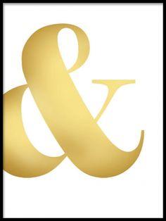 Poster med typografi i guld, &-tecken i guldfoliering. Tavlor och affischer med guldtryck. www.desenio.se