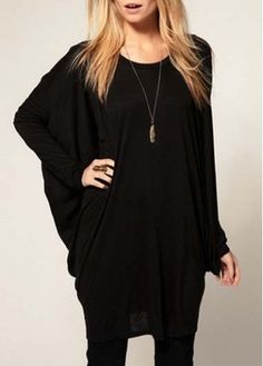 Stylish Dolman Sleeve Long Pattern Black T Shirts on sale only US$10.77 now, buy cheap Stylish Dolman Sleeve Long Pattern Black T Shirts at martofchina.com