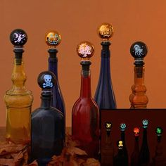 Lighted Halloween bottle toppers
