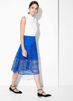 ジオメトリック柄透かし編みスカート
