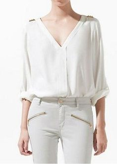 67eba3ab63 Encontre Camisa Branca Feminina Viscose Moda 2013 Manga Longa E Curta -  Calçados
