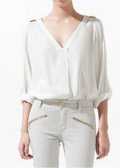 Camisa Branca Feminina Viscose Moda 2013 Manga Longa E Curta