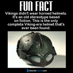 Vikings didn& wear horned helmets. It& an old stereotype based on fiction. This is the only complete Viking-era helmet that& ever been found. Wtf Fun Facts, Funny Facts, Random Facts, True Facts, History Memes, History Facts, Viking Power, Viking Life, Viking Facts