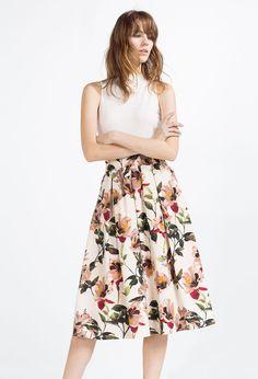 Zara - Floral print midi skirt