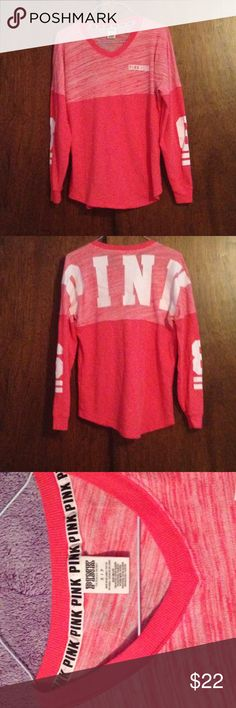 Victoria's Secret PINK Spirit Jersey PINK/Light Red Spirit Jersey with Logo on front ride side and the graphic PINK along back. Has 86 on sleeves. Size small. Absolutely no imperfections. PINK Victoria's Secret Sweaters Crew & Scoop Necks