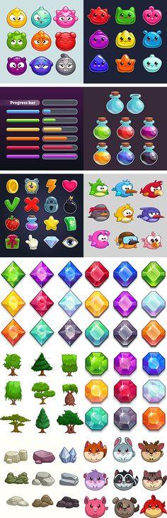 游戏中图标元素设计矢量素材 25eps ...