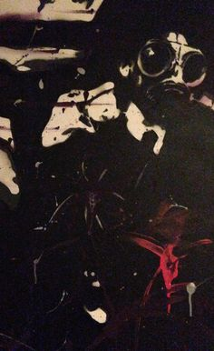 Original art work  Man in gas mask Spray paint and acrylic on canvas  Available on Etsy