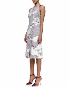 Carolina Herrera Optical Illusion Printed Dress, Ivory/Orchid