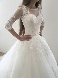 Ball Gown Sleeves Lace Appliques Lace-up Long Wedding Dresses with Sweep Tra. - Ball Gown Sleeves Lace Appliques Lace-up Long Wedding Dresses with Sweep Train - Wedding Dress Silk, Wedding Dress Tea Length, Western Wedding Dresses, Long Wedding Dresses, Perfect Wedding Dress, Bridal Dresses, Wedding Gowns, Lace Wedding, Half Sleeve Wedding Dress