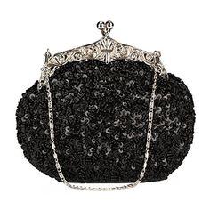 Chicastic Fully Sequined Mesh Beaded Antique Style Formal Cocktail Clutch- Blac
