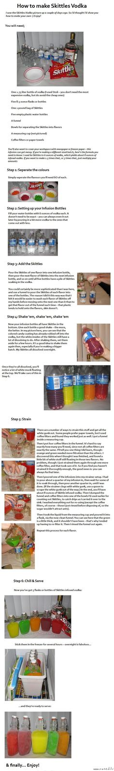Home Made Skittles Flavored Vodka ~ So I hate that the thumbnail turned out this way...  But it is so worth a click to take a peek at this recipe! It looks fairly easy.  I just might have to try this!  How fun!