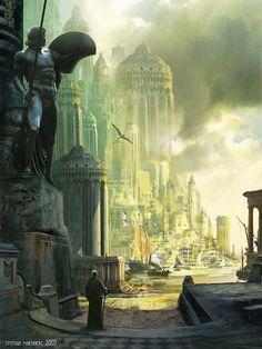 Fantasy - Surrealism - Other Art Fantasy City, Fantasy Castle, Fantasy Places, High Fantasy, Fantasy World, Illustration Fantasy, Illustration Manga, Fantasy Concept Art, Fantasy Artwork