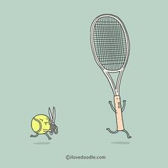 Running with scissor  by Lim Heng Swee  T-shirt available at:  http://www.ilovedoodle.com/products/running-with-scissor-t-shirt  #tennis #funny #revenge #ball (at ilovedoodle.com)