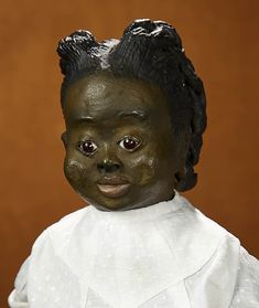 """Tears for Mina - March 2018 at the Hyatt Coconut Point, Naples, FL: 85 American Black-Complexioned Paper Mache Child """"Thelma"""" by Leo Moss Antique Dolls, Vintage Dolls, Paper Mache Head, Black Brows, African American Dolls, Creepy Dolls, Collector Dolls, Beautiful Dolls, Fashion Dolls"""