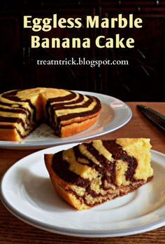 Eggless Marble Banana Cake Recipe @ treatntrick.blogspot.com This is an easy recipe that makes a great looking cake. Low in fat and egg free too