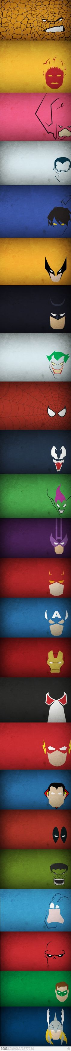 The Thing, Human Torch, Galactus, ?, Night Crawler, Wolverine, Batman, Joker, Spiderman, Venom, Green Goblin, Hawkeye, Dare Devil, Captain America, Iron Man, ?, The Flash, Superman, Dead Pool, The Hulk, ?, Red Skull, Green Lantern, and Thor