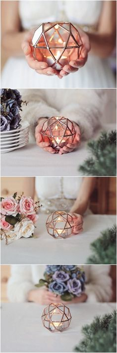 Glass Geometric Candle Holder / Wedding Candles / Wedding Lights / Geometric Ring Bearer Box / Glass Ring Pillow / Wedding Ring Box
