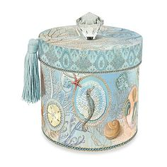 Seascape Punch Studio Toilet Tissue Holder -Punch Studio's images comes from the Kirschner Decorative Arts Collection. So you know your items are beautiful as well as functional, making every day tasks a pleasure. This small cylinder box with a lid i Tissue Paper Holder, Tissue Boxes, Spa Bathroom Themes, Bathroom Ideas, Bathrooms, Hall Bathroom, Bathroom Hardware, Bath Ideas, Bathroom Organization