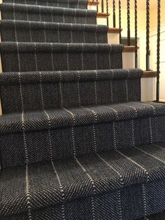 Mill: Prestige Style: Cliffside Color: Indigo – Home Renovation Carpet Staircase, Staircase Runner, Grand Staircase, Staircase Design, Staircase Ideas, Stair Runners, Cottage Stairs, Redo Stairs, Edwardian House
