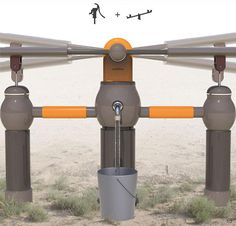 OasiSaw es un sistema de bombeo inteligente que utiliza la diversión para extraer aguas subterráneas. OasiSaw - Water Pump. Diseñador: Jinhyuk Kim