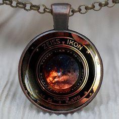 Camera lens pendant, Vintage camera pendant, camera lens necklace, space in camera lens, photographer jewelry, necklace for men, B_V12