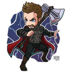 Thor - Avengers Infinity War by Chibi Marvel, Marvel Art, Marvel Dc Comics, Marvel Heroes, Marvel Characters, Captain Marvel, Marvel Avengers, Captain America, Avengers Drawings