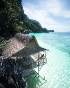 Bungalows on the beach in the Philippines.