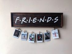 FRIENDS TV Show Wood Sign Picture/Polaroid Wall Hanging - Dark Wood