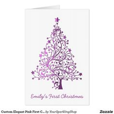 Custom Elegant Pink #FirstChristmas Tree Funny #HUGE Christmas Greeting #Card you can change all text :)