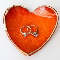 Home Decor handmade hart shape Bowl rings, made of clay and glazed with a shiny unique red color, wedding gift