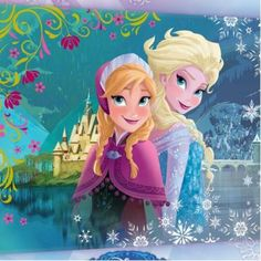 disney poster for bedroom | Quadro tela Frozen Anna e Elsa