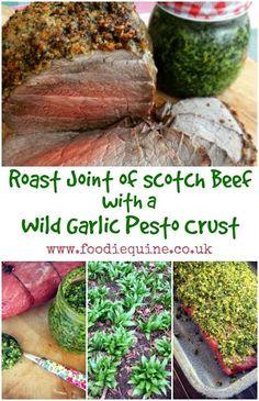 Spring Roast of Scotch Beef with a Wild Garlic Pesto Crust Garlic Recipes, Pork Recipes, Wild Garlic Pesto, Beef Sirloin, Roasting Tins, Food Stamps, Edible Food, Lamb Chops, Food Website