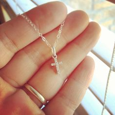 Dainty 14K White Gold Diamond Cross Pendent Necklace by cocowagner