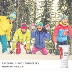 The sun's rays never stop shining - even in the dead of winter. That's why each of the Rodan  Fields Regimen feature products with broad spectrum SPF protection. Looking for full-body protection? The lightweight non-greasy ESSENTIALS Broad Spectrum SPF 30 Body Sunscreen isn't only for summertime. Apply liberally for maximum defense against the harsh winter sun. Stay sun-smart this winter - whether you're commuting to work or speeding down the slopes.