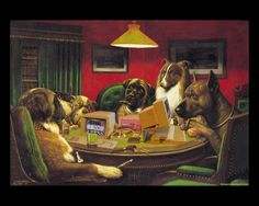 Original poker dogs painting images