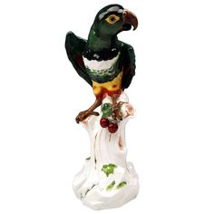 Meissen Animal Figurine Parrot Macaw 19th C.  16.6 Inches High | From a unique collection of antique and modern porcelain at https://www.1stdibs.com/furniture/dining-entertaining/porcelain/