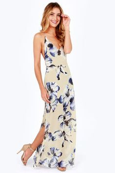 This At Long Last Beige Floral Print Maxi Dress makes me want to go somewhere tropical #lovelulus