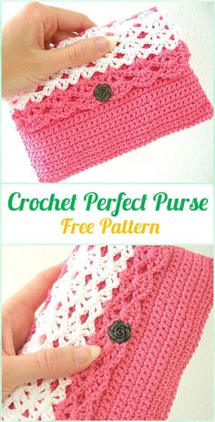 Crochet Perfect Purse Free Pattern - Crochet Clutch Bag Purse Free Pattern - The Crocheting Place 38 links to crochet purses and bags A list of Crochet Clutch Bag & Purse Free Patterns. These crochet patterns to crafts clutches and evening bags for specia Purse Patterns Free, Crochet Purse Patterns, Bag Pattern Free, Knitting Patterns, Clutch Pattern, Pattern Ideas, Knitting Ideas, Knitting Yarn, Knitting Projects